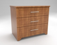 400 Series  Bedside Table - with 3 Drawers